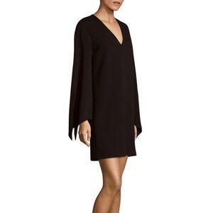 Tibi black crepe tie sleeve dress